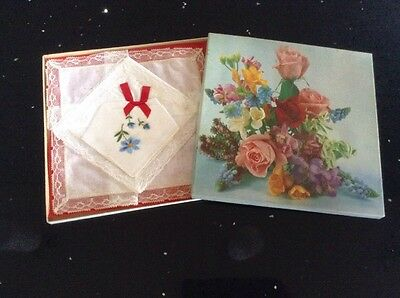 Vintage Irish Cotton Lace Ladies Handkerchiefs 3 Boxed Set Rose Garden  Box Nib
