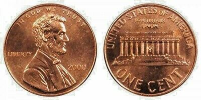 2000 P & D Uncirculated Hand Picked  Lincoln Cents From Bank Rolls (2 Coins)