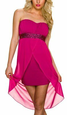 ♥ Sexy Miss Donna Vokuhila Bandeau Vestito Chiffon Strass Dress 36/38 L/XL 38/40