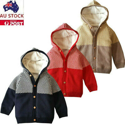 Fashion Toddler Infant Baby Boy Girl  Warm Knit Hooded Tops Sweater Outfit Coat