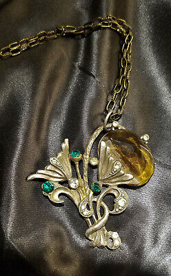 VTG Antique Victorian Goth Amber Glass Rhinestones Pewter/Gold Tone Necklace