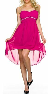 ♥ Sexy Miss Donna Vokuhila Bandeau Vestito Abito Chiffon Strass Dress 36/38 L/XL