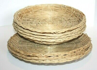 Vintage Wicker/Rattan/Bamboo Vintage Paper Plate Holders Mixed Lot 7 pc.