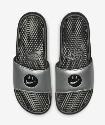Nike Benassi JDI Print 631261-020 Black Silver Grey Mens Slide Lifestyle Sandals