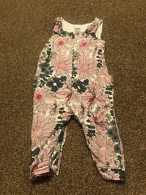 White Pink sleeveless floral sumer playsuit jumpsuit baby girls 12-18 months