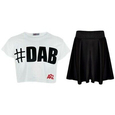 Bambine Top # DAB Bianco Trendy Filato Moda & Tees Set Gonna 5-13 Anni