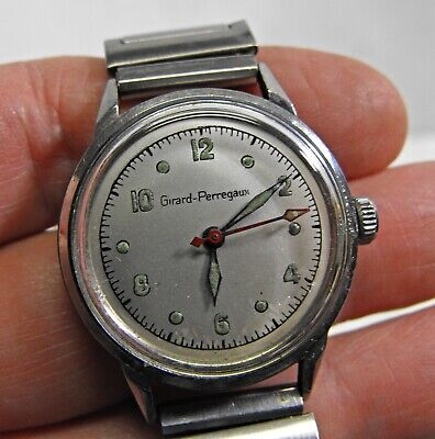 vintage ~ GIRARD-PERREGAUX ~ stainless steel 1940s-50s RED second hand rare EX+