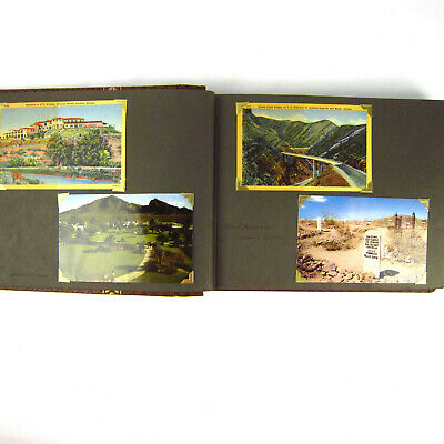 Vtg Photo Album Scrapbook Postcards 1950s Arizona California Travel Linen