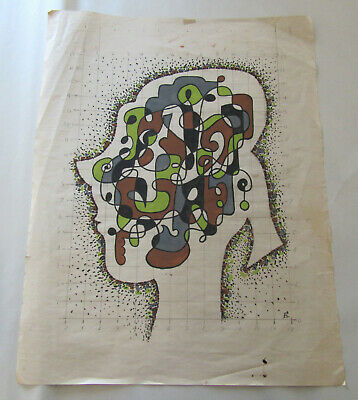 Fred Rosebury - Original Vintage Painting - Abstract Figure Modernist Listed
