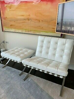 Mies Van Der Rohe Barcelona Chair and Ottoman white leather - Original Knoll