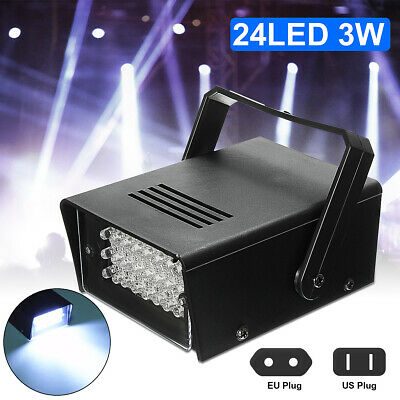 24 White LEDs Strobe Light DJ Disco Operated Party Stage Effect Lights  *