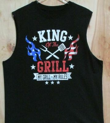 Funny T-Shirt Sleeveless BBQ King of the Grill - My Grill My Rules Black Medium