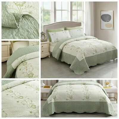 Summer Bedspreads Embroidery Floral Quilts Lightweight Coverlet Set Quilts Set