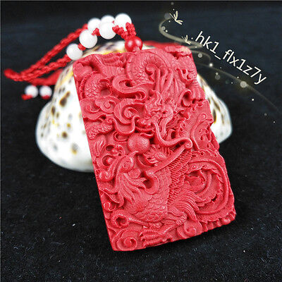 Chinese Red Organic Cinnabar Dragon Phoenix Pendant Necklace Lucky Amulet A259