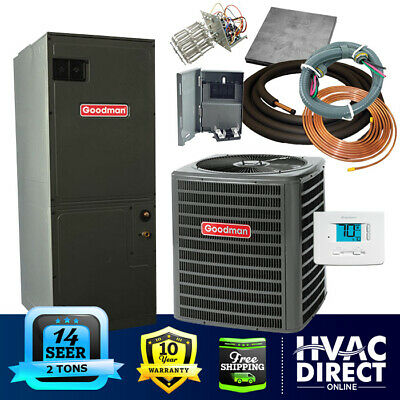 2 Ton 14 SEER Goodman Heat Pump System | Complete Install Kit, Free Accessories