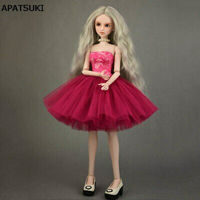 Fashion Doll Clothes Red Little Ballet Dress Wedding Dresses for 1/4 XINYI Doll