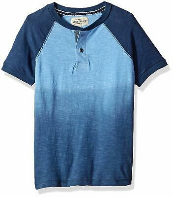 Lucky Brand NEW Blue Baby Boys Size 2T Dip-Dye Short Sleeve Henley Top $30 050