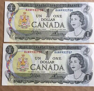 2 Consecutive Numbered Canadian One Dollar Bills ($1) Uncirculated 2 X $1 (1973)