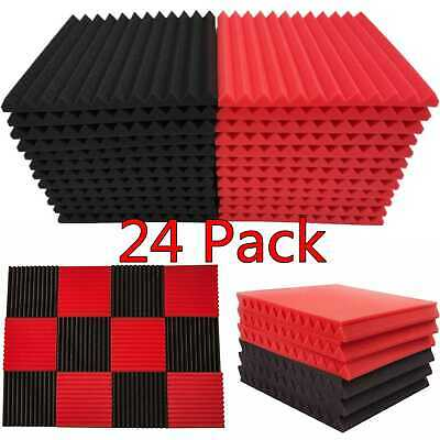 """24 Pack Acoustic Foam Panel Wedge Studio Soundproofing 1"""" X 12"""" X 12"""" Wall Tiles"""