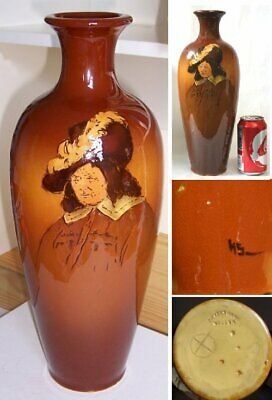 """Large Weller Dickensware Vase with Cavalier, 14""""Tall"""
