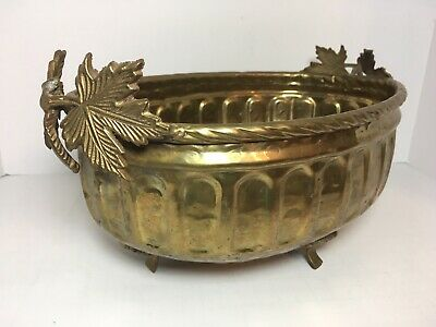 """Vintage Footed Brass Oval Planter Ornate Leaf Accent 13"""" Home Patio Decor"""