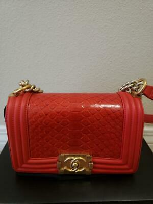 7cdabc60e92d0d New & Authentic Chanel Red Boy Python Small Flap Handbag Bag Aged Gold Hw