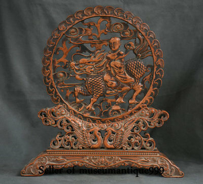 """16"""" Ancient Chinese Huanghuali Wood Dynasty Tongzi Boy Dragon Lucky Fold Screen"""