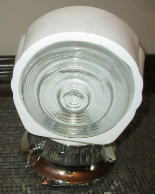 """VTG STYLE Art Deco chrome wall sconce light fixture """"turtle"""" shade W OUTLET"""
