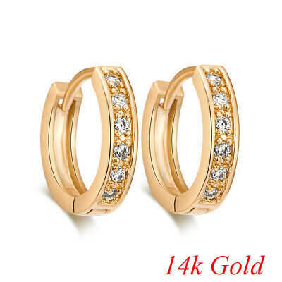 Womens Brilliant Jewelry 14k Gold Filled Sapphire Crystal Fashion Hoop Earrings