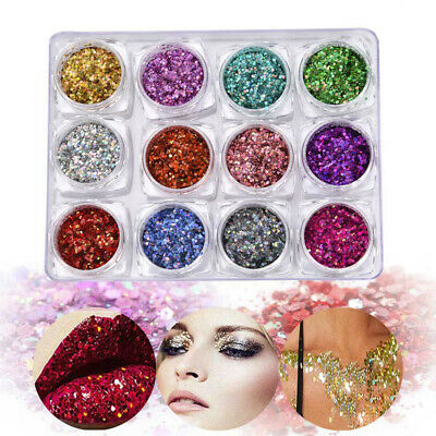 12 Box Holographic Chunky Glitter Cosmetic Body Face Hair Rave Glitter Sequins