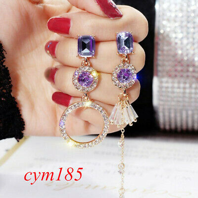 Fashion Crystal Rhinestone Round Earrings Drop Dangle Womens Banquet Jewellery