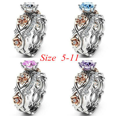 1 Pair Round Cut Stainless Steel Wedding Band Ring Set Women's Size 5-11