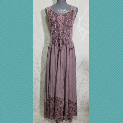 67d64d07fd Coline Pink Chambray Sleeveless Maxi Peasant Dress | Women's M | Boho Rustic