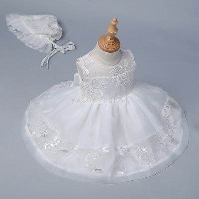 Infant Baby Flower Girls Dress Princess Party Embroidered Birthday Baptism Dress