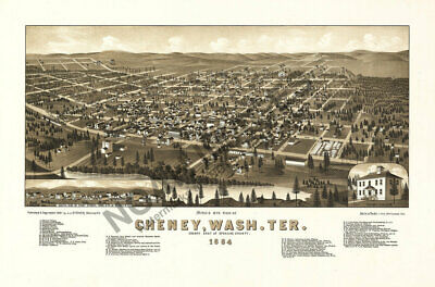 Cheney Washington Territory panoramic map c1884 24x16