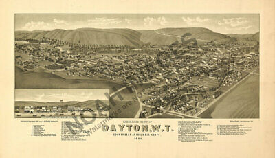Dayton Washington Territory panoramic map c1884 24x16