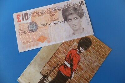 Banksy signed tenner & postcard from the dismaland Theme park 2015 WSM