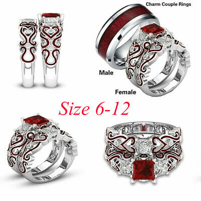 His & Hers Lover Stainless Steel Red CZ Couple Engagement Wedding Band Rings Set
