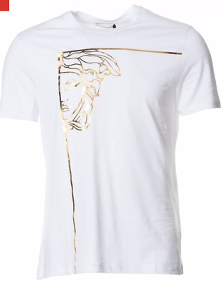 83e16144d Versace White Gold Medusa Large T-Shirt|Versus Coat Shirt Trainers Jeans  Shoes