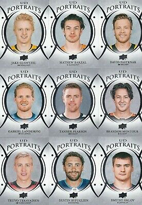 2018-19 Upper Deck Series 1 Ud Portraits Lot Of 9 All Brand New