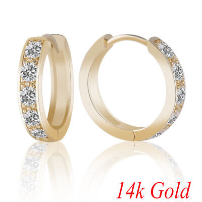 14k Gold Filled  Brilliant Jewelry Womens Sapphire Crystal Fashion Hoop Earrings