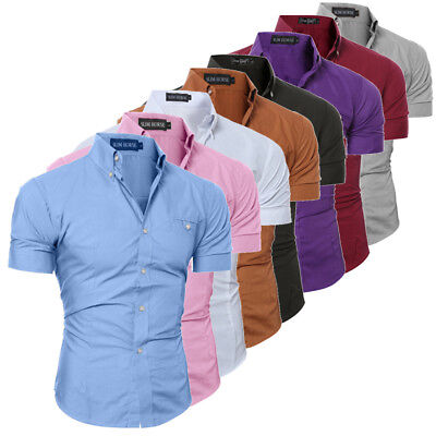 AU Men's Slim Fit Shirt Short Sleeve Business Formal Casual T-shirt Tops