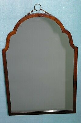 "VICTORIAN-25""x17""X1.25"" 3KG-GOTHIC ARCHED-RING CHAIN-VENEER WOOD FRAME-MIRROR"