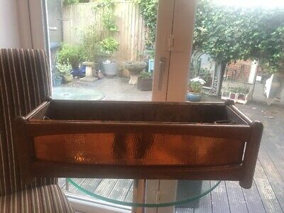Vintage 1970s Retro Teak And Hammered Copper Planter, Very Stylish