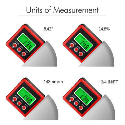 LCD Digital Bevel Box Gauge Angle Finder Protractor Level Inclinometer Tools