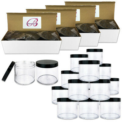 12pc 10oz/300g/300ml High Quality Acrylic Leak Proof Container Jars w/Black Lids