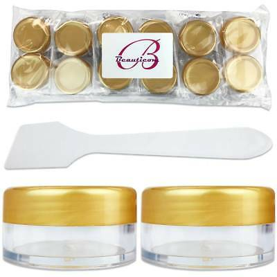 12 Gold Lid Jars 10 mL/Gram With 6 Spatulas Cosmetic Plastic Sample Containers