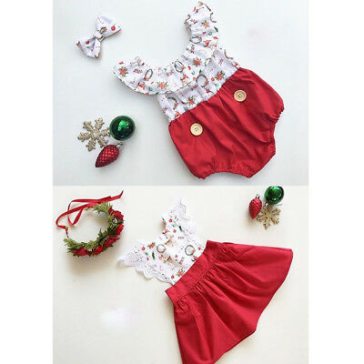 AU Kids Baby Girl Xmas Sister Matching Clothes Bodysuit Romper Lace Dress Outfit