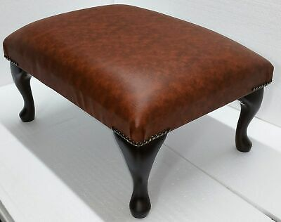 Chesterfield Deep Cushioned Queen Anne Footstool Tan Faux Leather Vegan