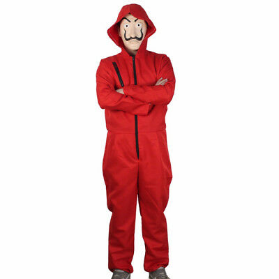 Salvador Dali The House Papel Money Heist Red Jumpsuit+Mask Cosplay Costumes Hot